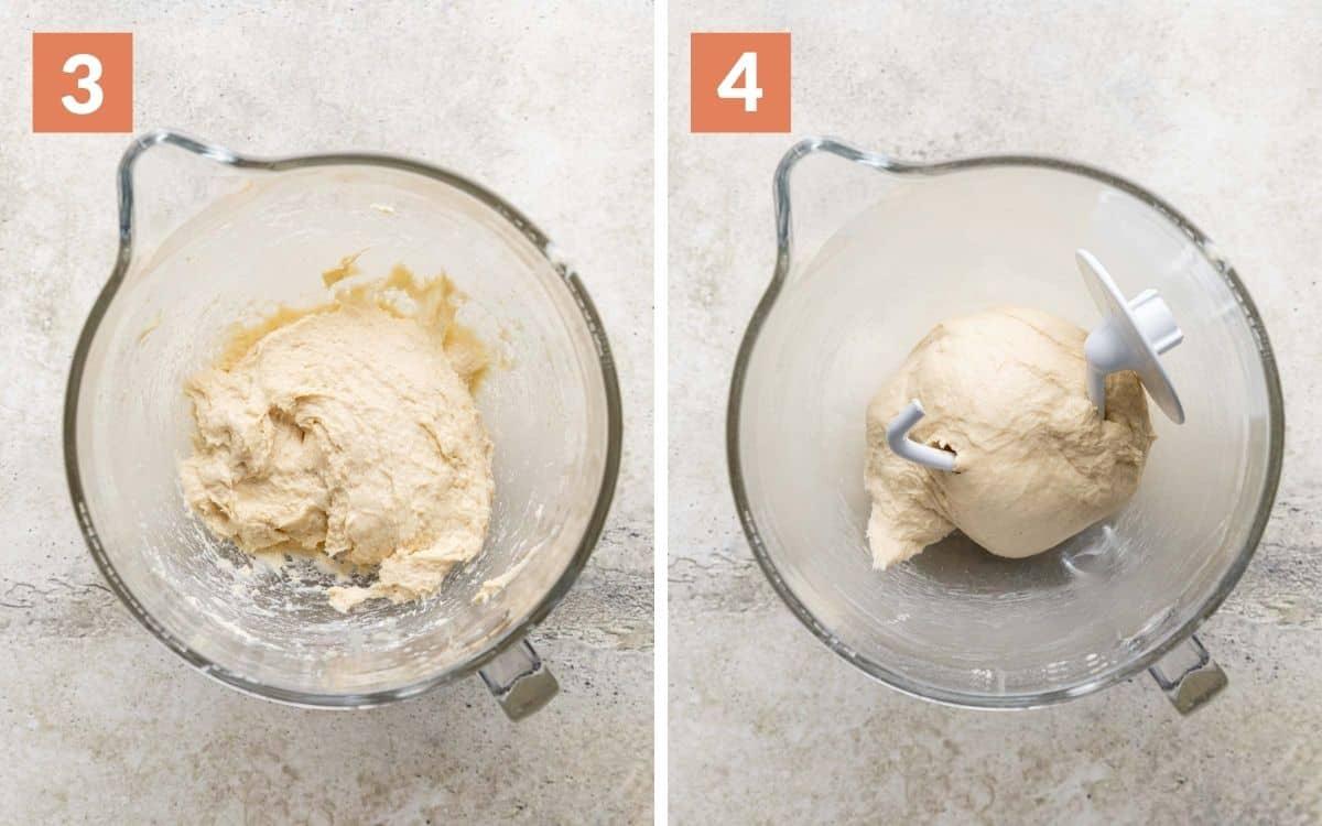 steps 3 & 4 sticky dough kneaded dough around dough hook