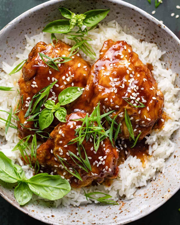 closeup of teriyaki chicken