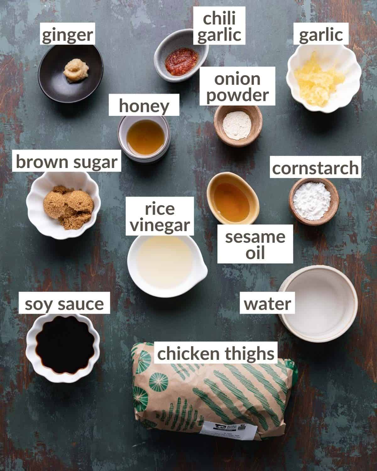 overhead of the ingredients