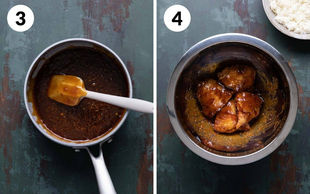 steps 3 & 4 teriyaki sauce in sauce pot chicken thighs tossed in sauce