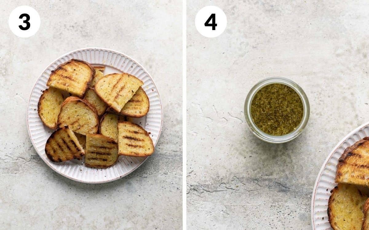 steps 3 & 4 grilled bread on plate pesto vinaigrette mixed together in jar