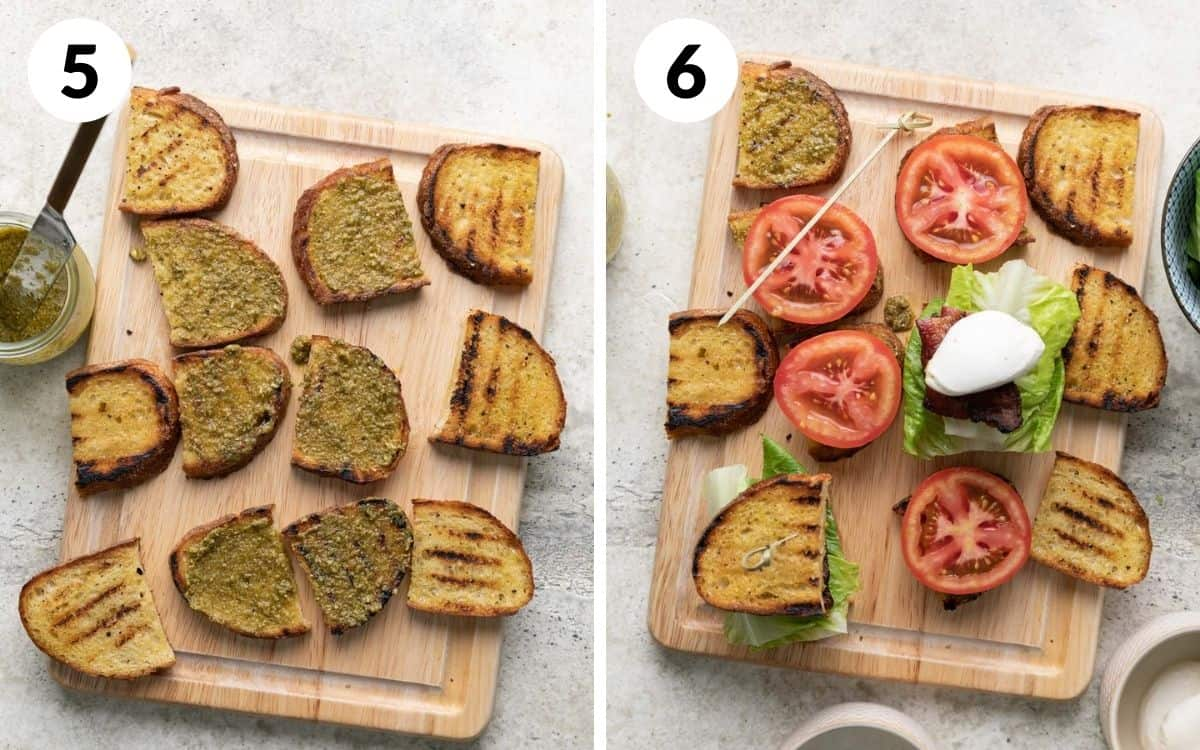 steps 5 & 6 pesto spread on bread sandwiches being assembled