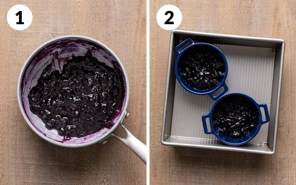 steps 1 & 2 blueberry sauce in pan ramekins filled with blueberry in pan