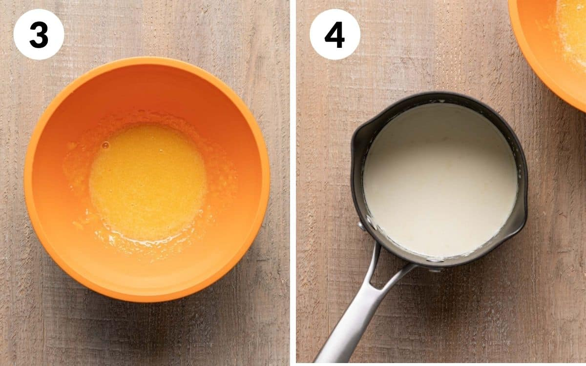 steps 3 & 4 egg yolks and sugar mixed together hot cream in pan