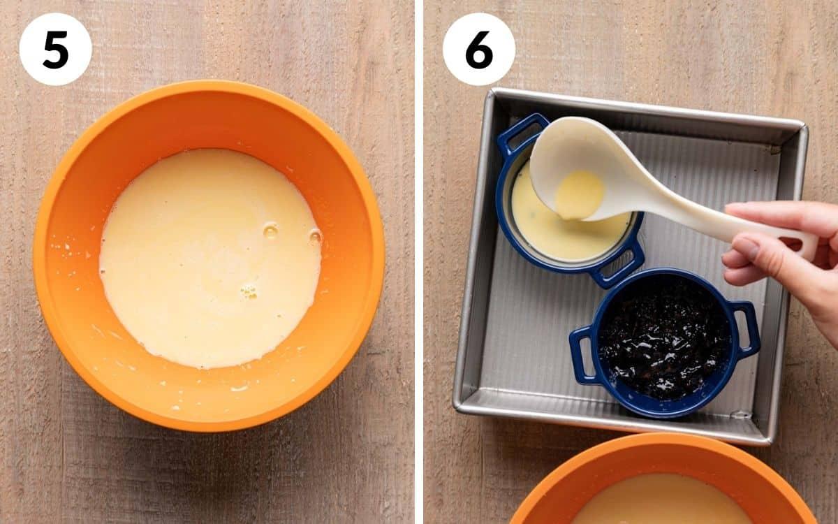 steps 5 & 6 custard in bowl ladling custard into ramekins
