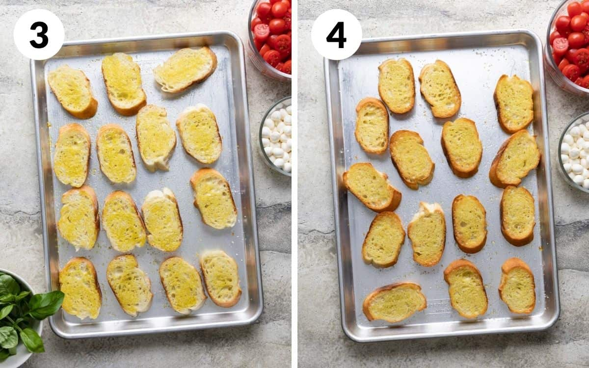 steps 3 & 4 bread brushed with olive oil on baking sheet toasted bread on baking sheet