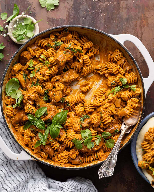 overhead of pasta in pot