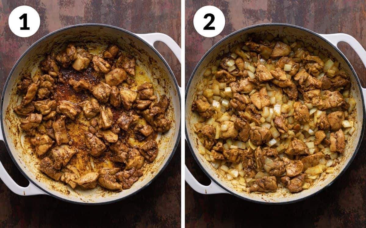steps 1 & 2 browned chicken in pot chicken and onion in pot