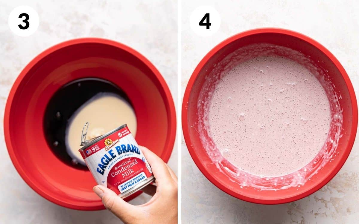 steps 3 & 4 condensed milk poured into cherry juice mascarpone mixed into cherry juice