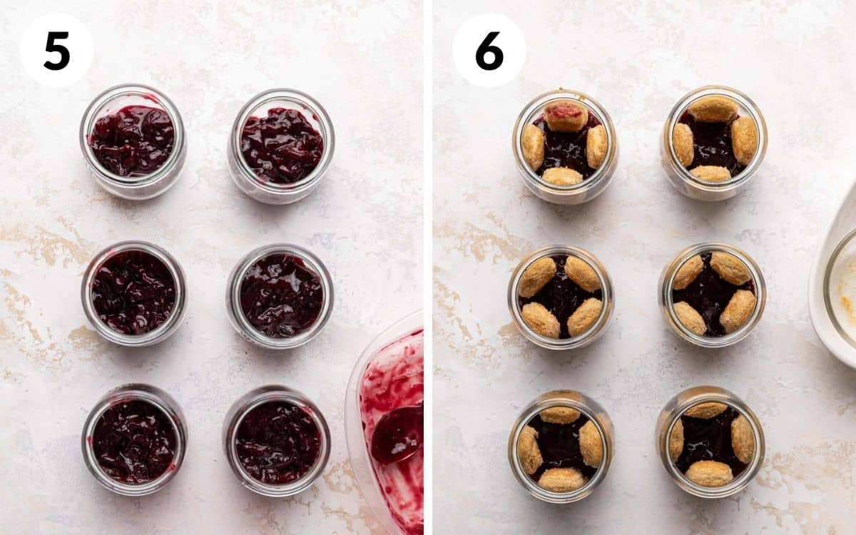 steps 5 & 6 cherry compote divided between jars lady fingers on sides of jar
