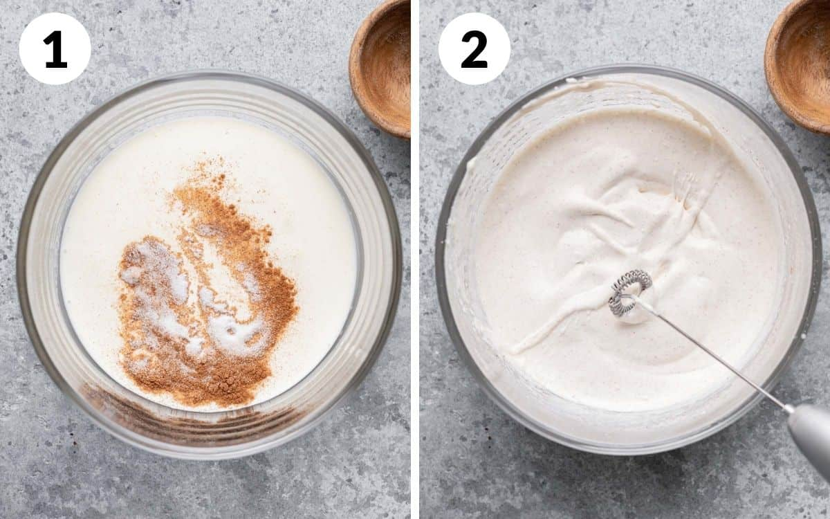 before and after of the cinnamon sugar foam in a bowl using the handheld frother