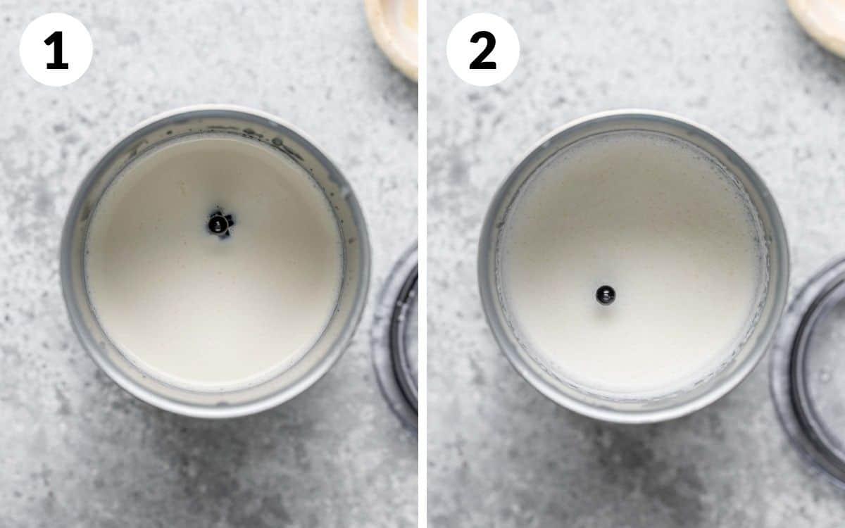 before and after of the vanilla sweet cream foam in the Nespresso foamer