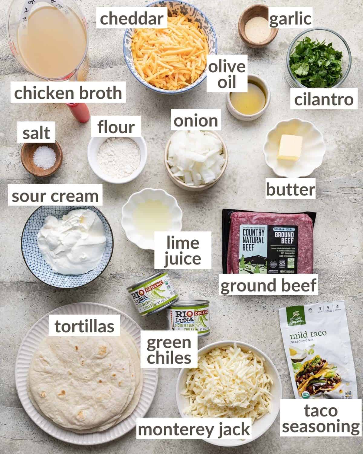 overhead of ingredients labeled