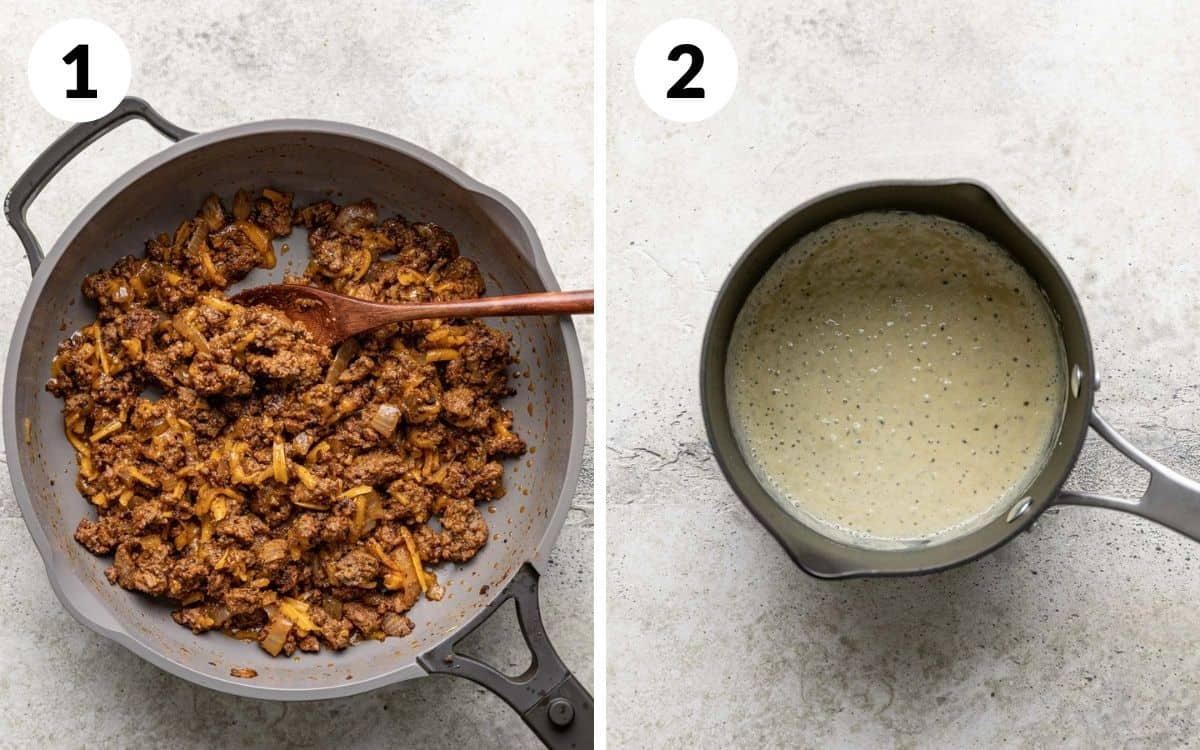 steps 1 & 2 meat in skillet butter and flour in saucepan