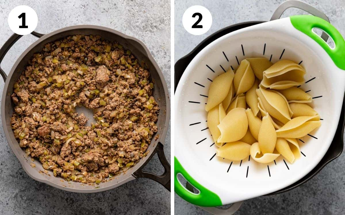 steps 1 & 2 meat cooked in skillet shells cooked in colander