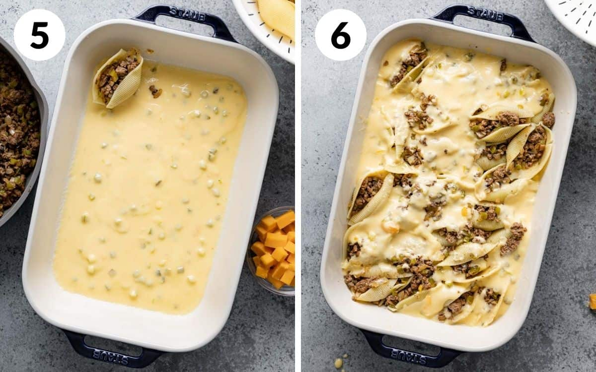 steps 5 & 6 shell stuffed in casserole dish with sauce in the dish shells stuffed with sauce on top