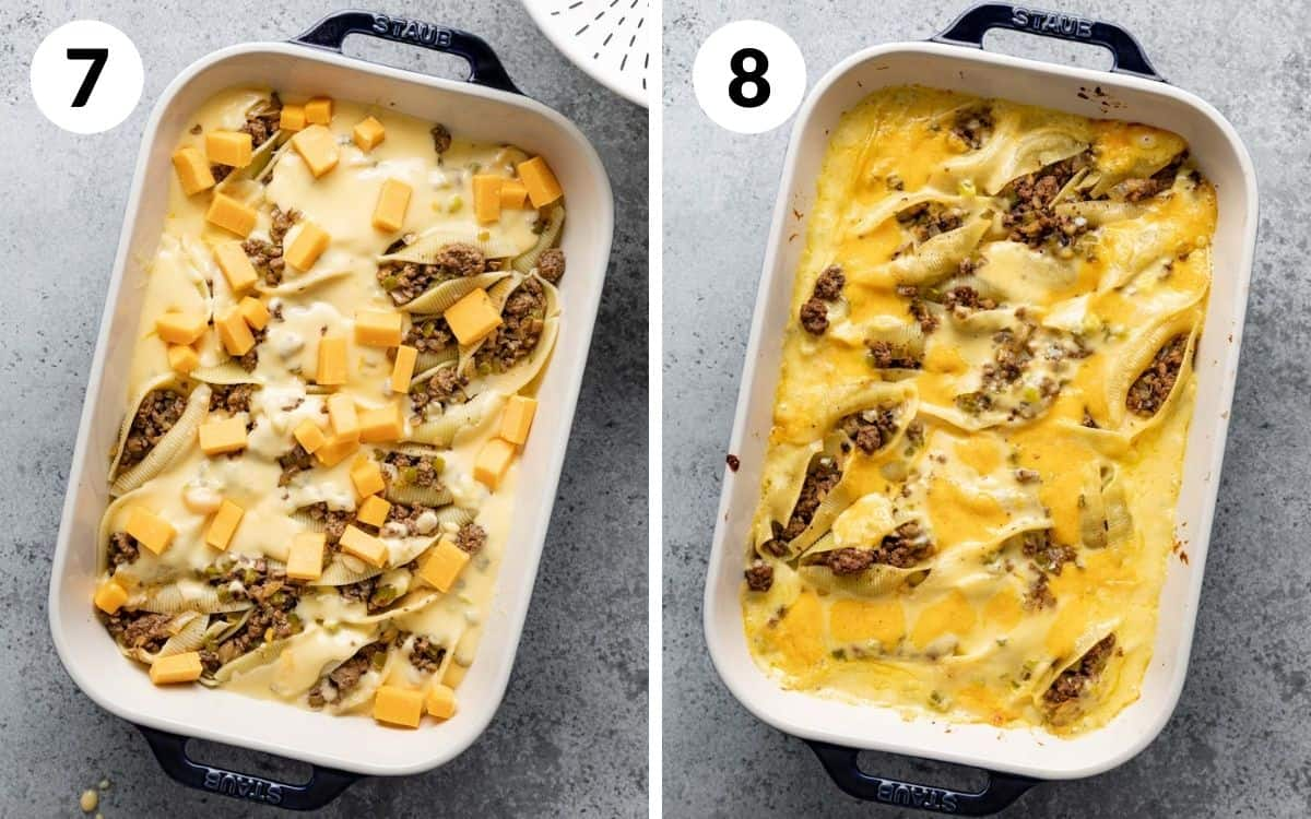 steps 7 & 8 cheese cubes on top of unbaked casserole  baked shells