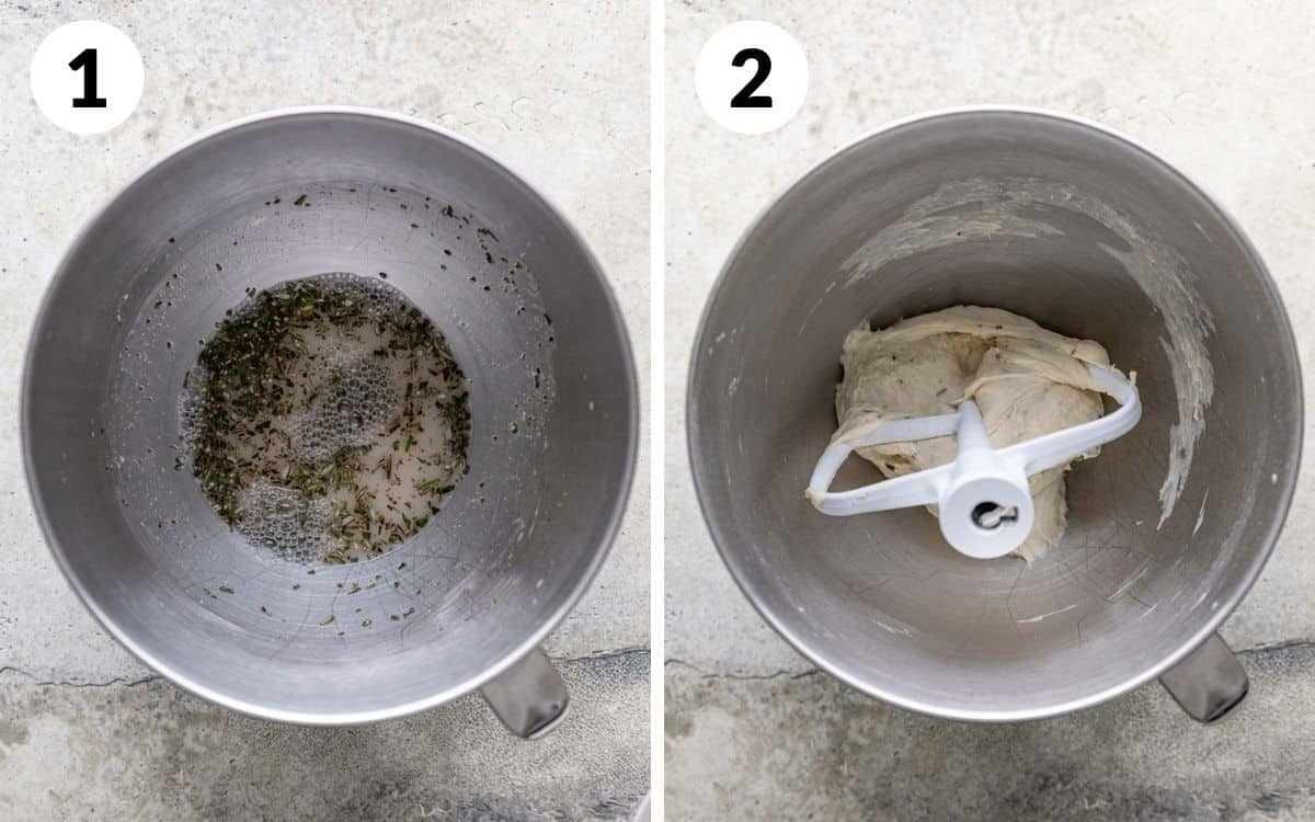 steps 1 & 2 yeast, honey, water, and rosemary in mixing bowl dough stuck to hook in mixing bowl