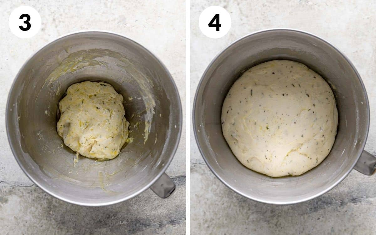 steps 3 & 4 dough greased in greased bowl dough in bowl doubled in size