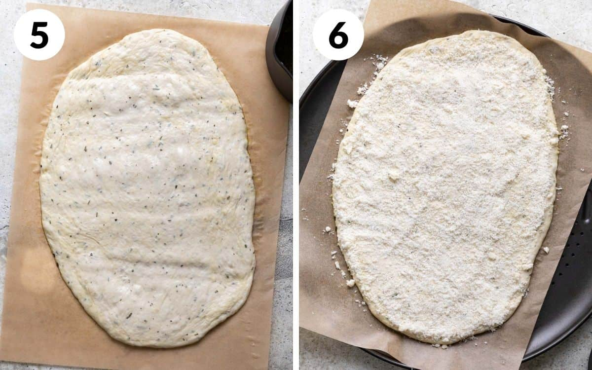 steps 5 & 6 dough stretched into an oval on parchment dough covered in parmesan on pizza pan