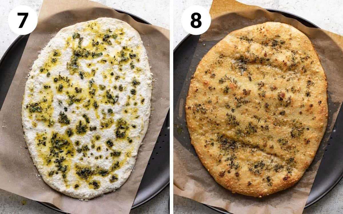 steps 7 & 8 herb oil drizzled on dough baked bread on pan