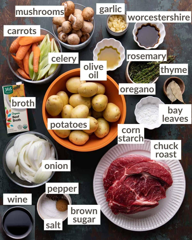 overhead of pot roast ingredients