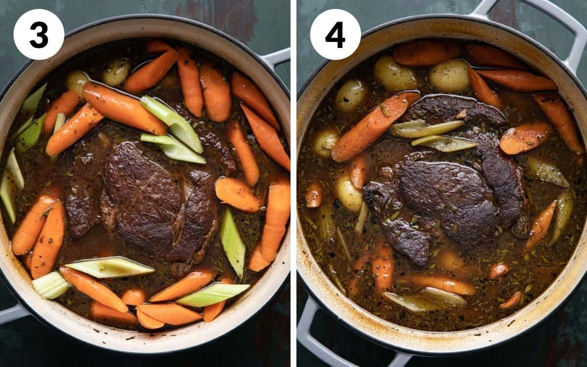 steps 3 & 4 carrots and celery added after the first braise finished roast in pot