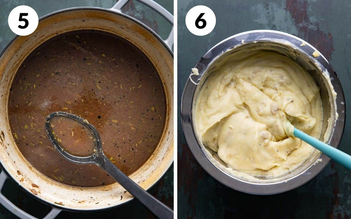 steps 5 & 6 thickened pan sauce mashed potatoes in bowl