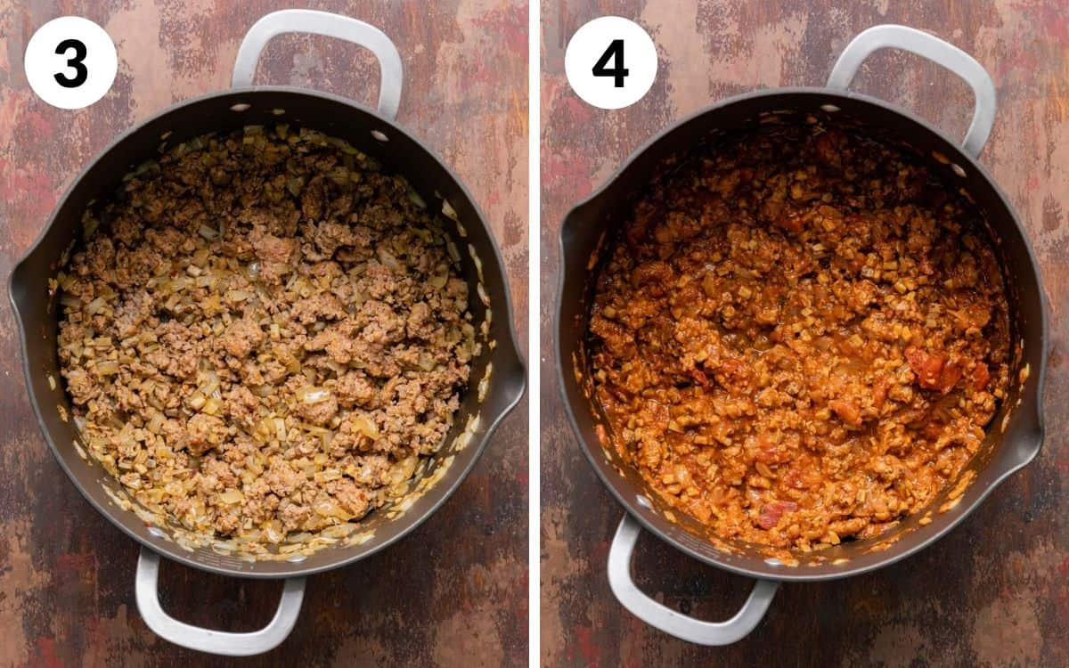steps 3 & 4 onions added to meat and cooked finished sauce in pot