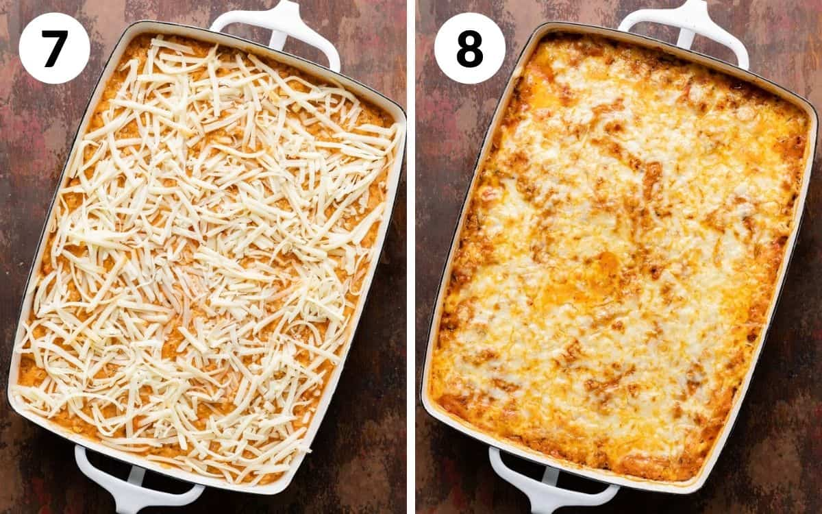 steps 7 & 8 casserole completely prepared before baking baked casserole