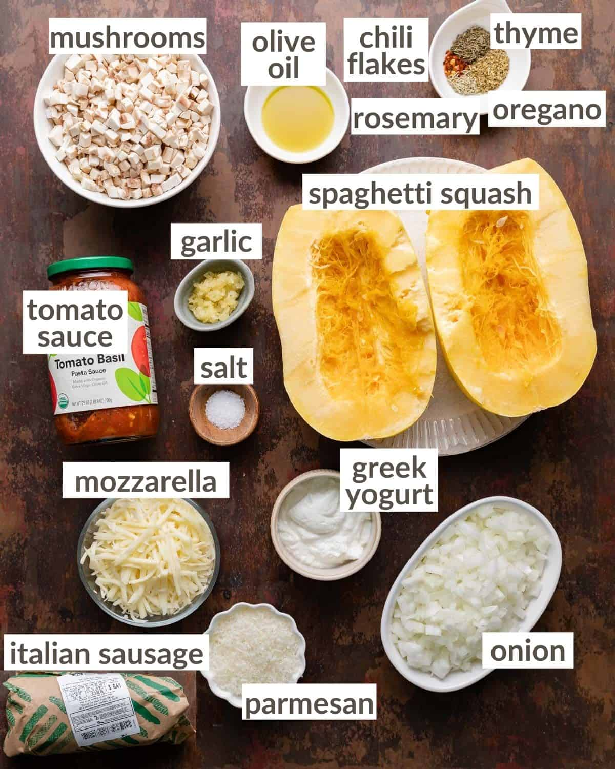 overhead of all ingredients