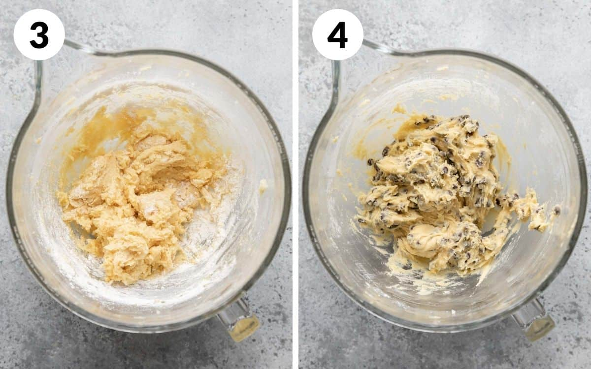 steps 3 & 4 dry ingredients added with flour showing in dough chocolate chips stirred into dough no more flour showing