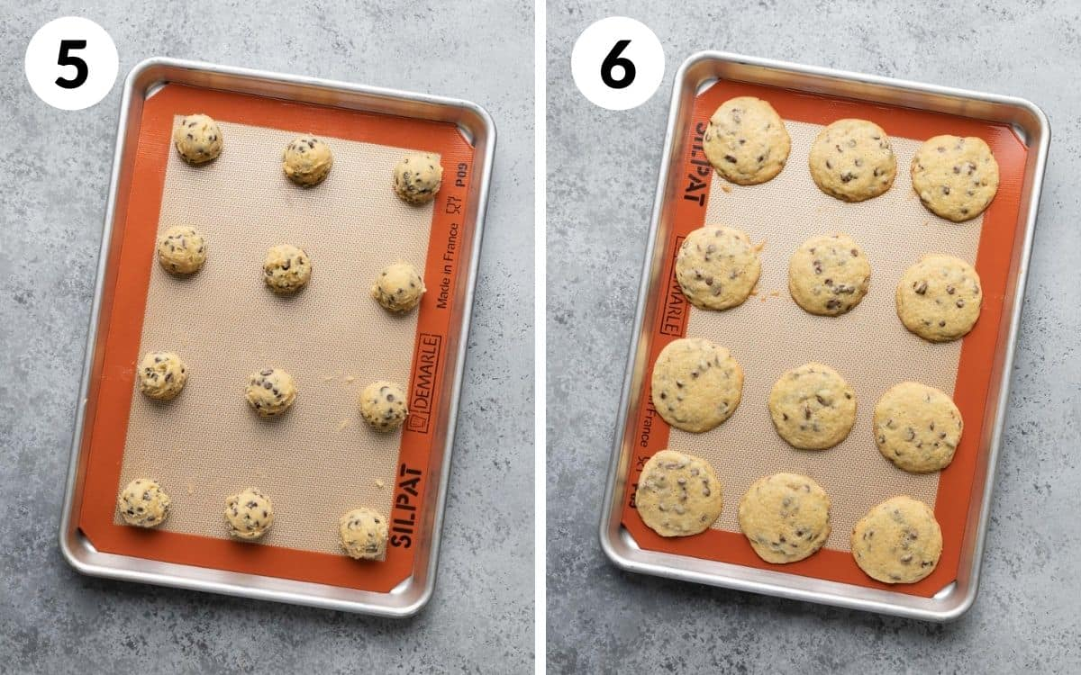 steps 5 & 6 cookie dough scooped on sheet baked cookies on sheet
