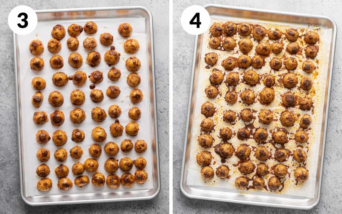 steps 3 & 4 potatoes spread out on baking sheet finished potatoes on baking sheet
