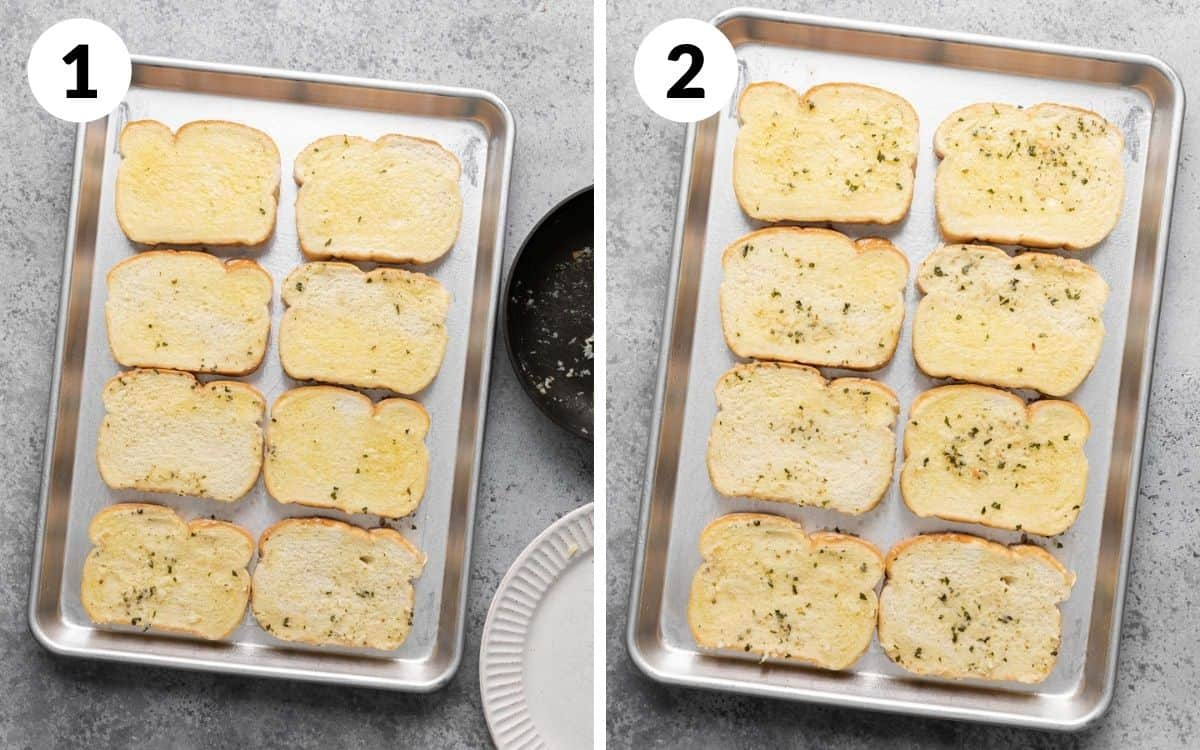 steps 1 & 2 bread lightly buttered on pan bread with extra garlic spooned on