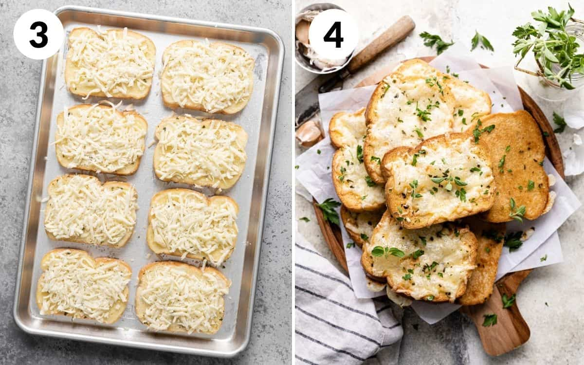 steps 3 & 4 bread with cheese on top