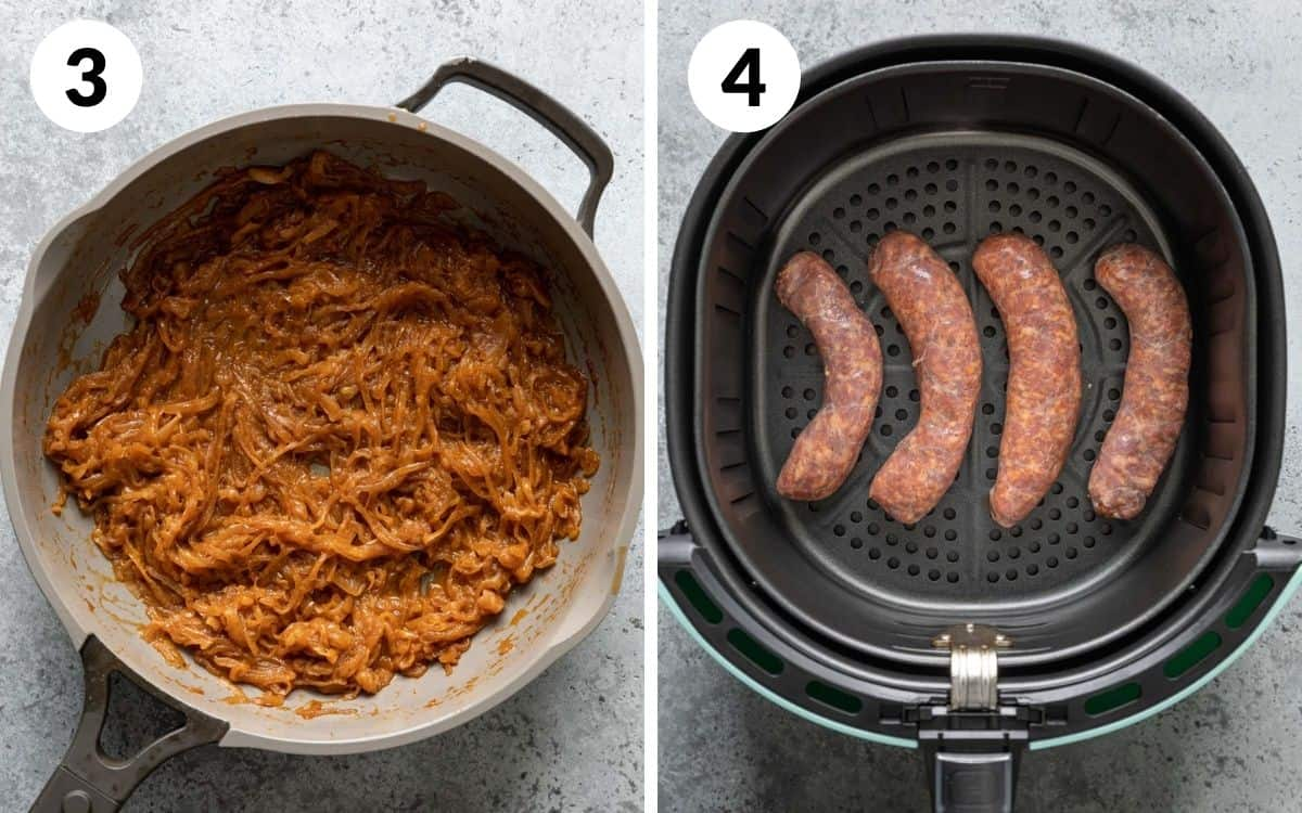 steps 3 & 3 onions with no liquid left raw brats in air fryer