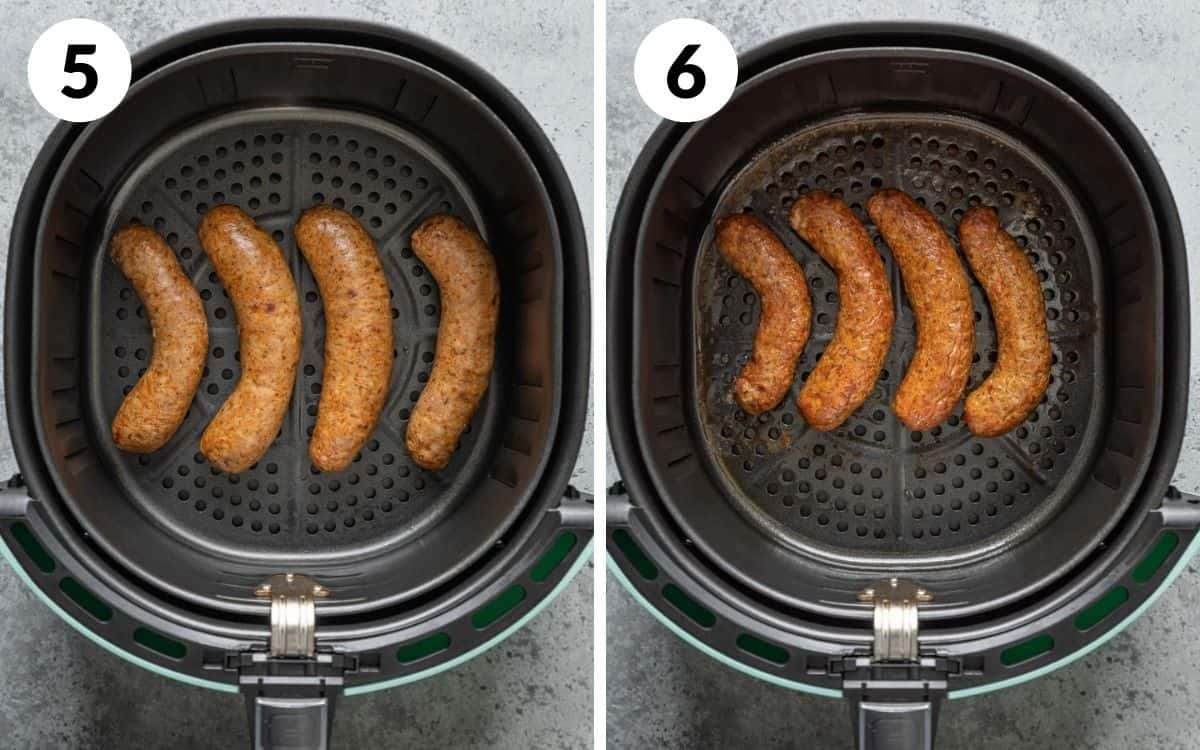 steps 5 & 6 brats halfway cooked brats finished in air fryer