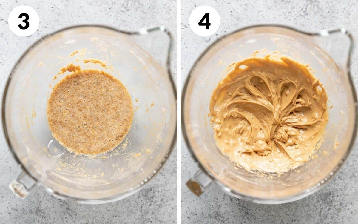 steps 3 & 4 egg mixed in peanut butter mixed in