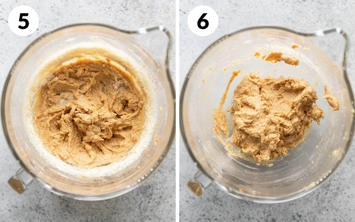steps 5 & 6 dry ingredients folded in peanut butter chips added in