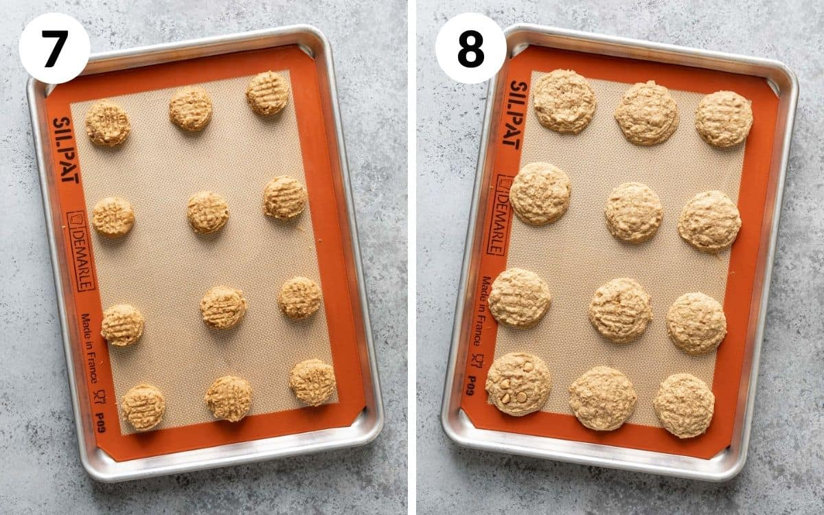 steps 7 & 8 cookie dough pressed down on sheet baked cookies setting on baking sheet