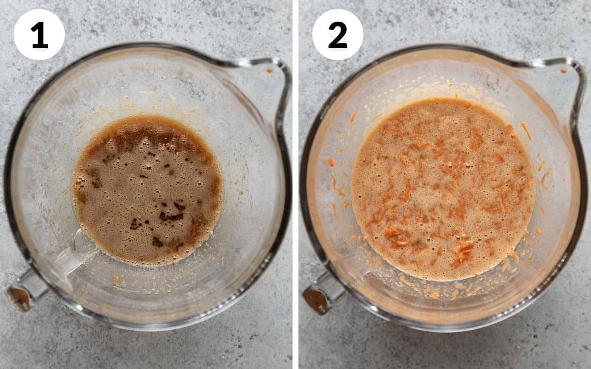 steps 1 & 2 egg mixture in bowl banana and carrot added to egg mixture