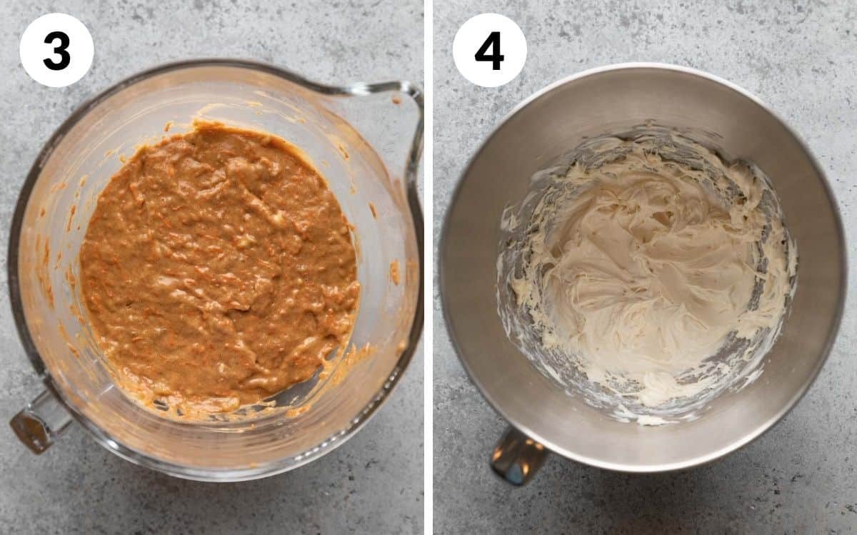 steps 3 & 4 dry ingredients folded into the wet ingredients cream cheese mixture whipped together in a separate bowl