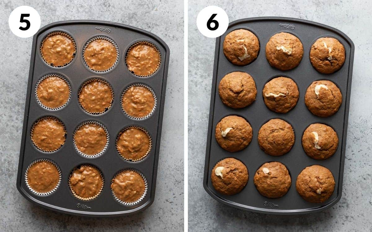 steps 5 & 6 muffin liners filled with batter baked muffins