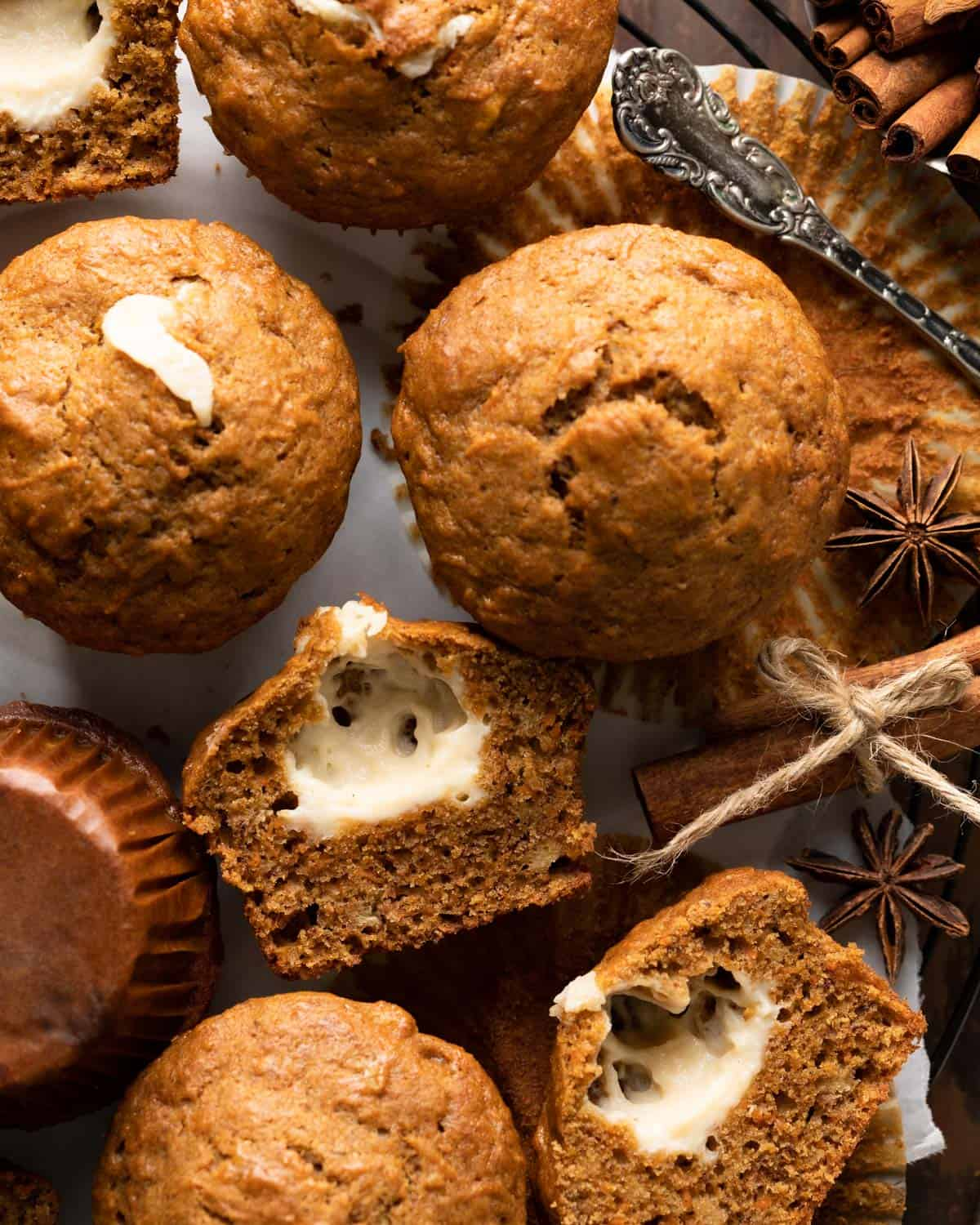 close up of muffins halved