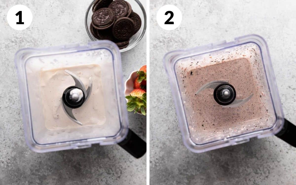 steps 1 & 2 milk and ice cream blended in blender oreo and strawberry blended in blender