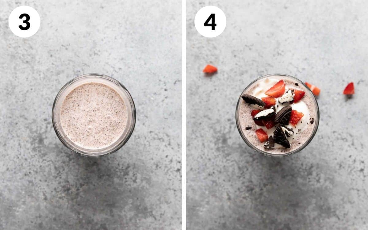 steps 3 & 4 shake in cup whipped cream and garnished added
