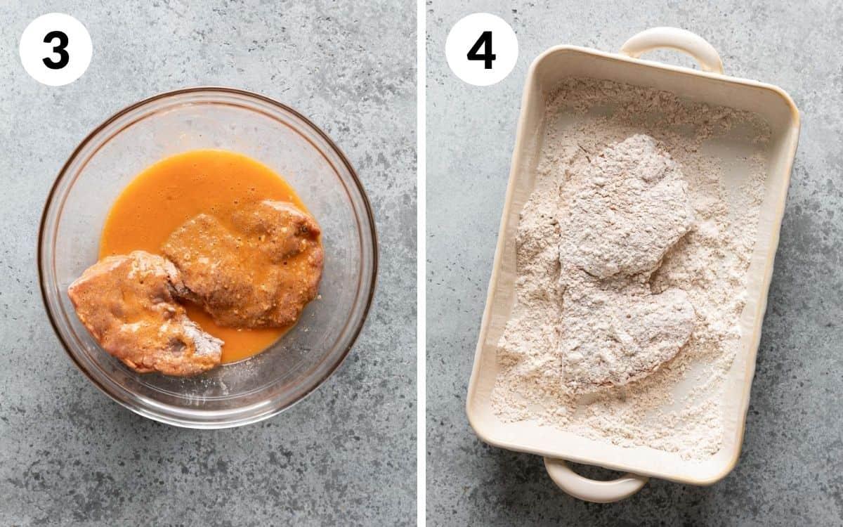steps 3 & 4 steak in egg wash steak back into the flour