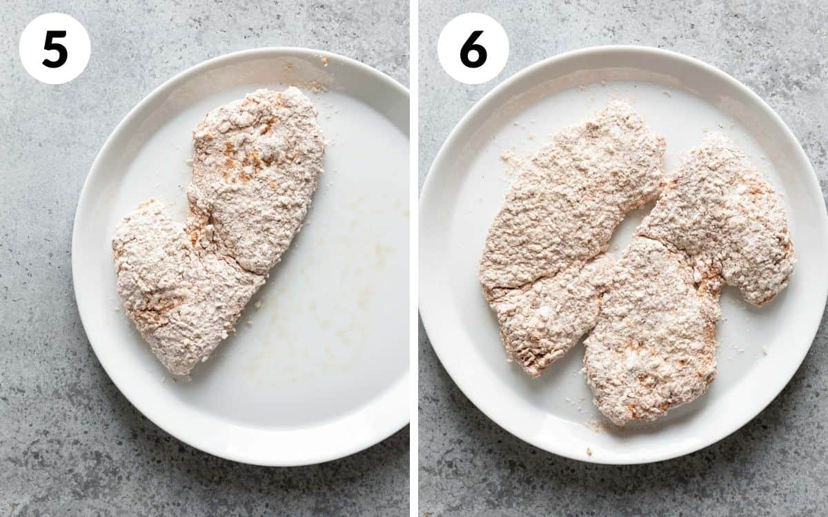 steps 5 & 6 one steak breaded both steaks breaded after sitting for 10 minutes