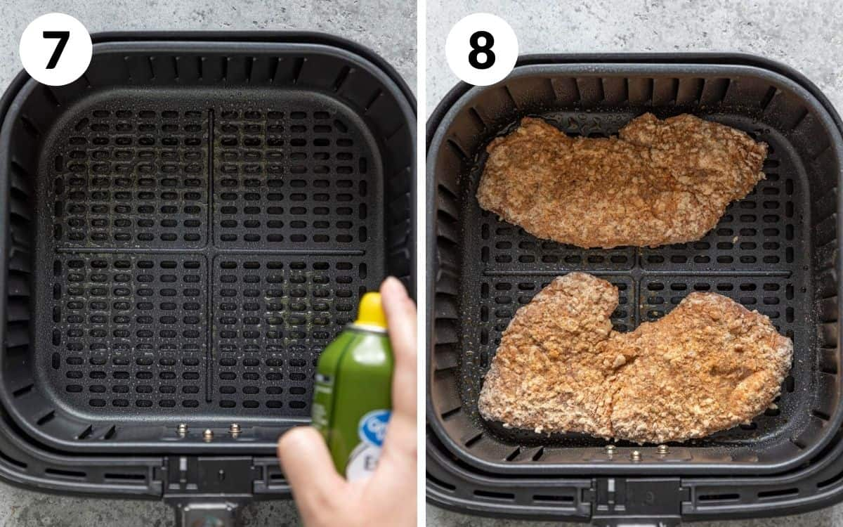 steps 7 & 8 greased basket breaded steak placed in air fryer basket